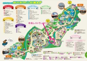 中央レストランの園内マップ